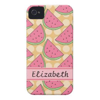Watermelon Pattern, Orange Polka Dots iPhone 4 Cover