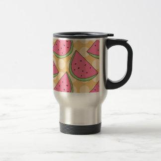 Watermelon Pattern, Orange Polka Dots Travel Mug