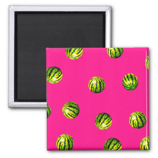watermelon pattern pink 2 inch square magnet