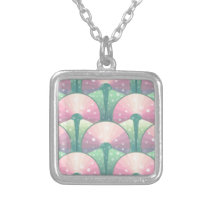 watermelon pattern silver plated necklace