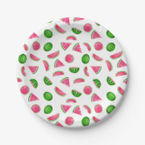 Watermelon Pattern Summer Cool Birthday Party Paper Plate