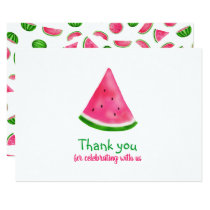 Watermelon Pattern Summer Cool Birthday Thank You Invitation