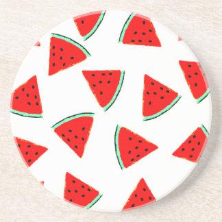 Watermelon Pattern Triangles Sandstone Coaster