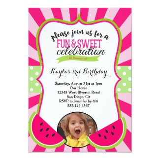 Watermelon Photo Birthday Party Invitation