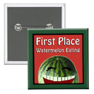 Watermelon Picnic 1st  Place Watermelon Eating 2 Inch Square Button