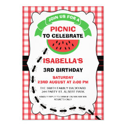 Picnic birthday invitations announcements zazzle watermelon picnic birthday party invitation filmwisefo Image collections
