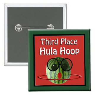 Watermelon Picnic Party 3rd Place Hula Hoop 2 Inch Square Button