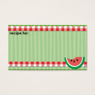 Watermelon picnic recipe business cards