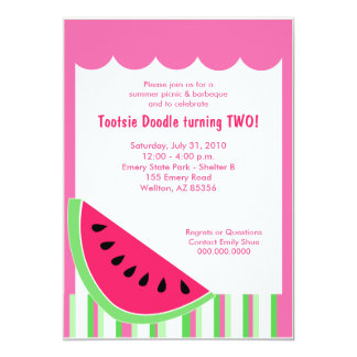 Watermelon Picnic Summer Birthday Party 5x7 Card