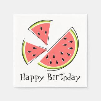 Watermelon Pieces Happy Birthday napkins paper