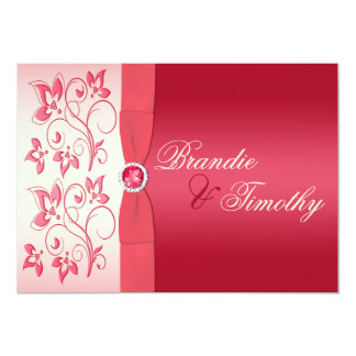 Watermelon Pink and Ivory Floral Invitation
