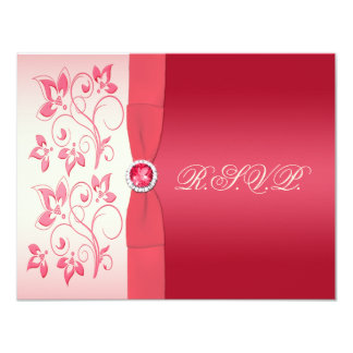 Watermelon Pink and Ivory Floral Reply Card