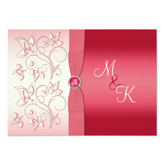 Watermelon Pink and Ivory Monogrammed Invitation