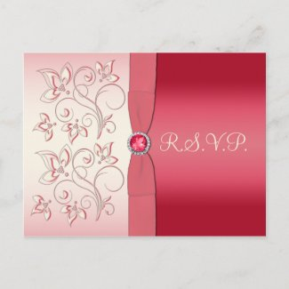 Watermelon Pink and Ivory R.S.V.P. Postcard postcard