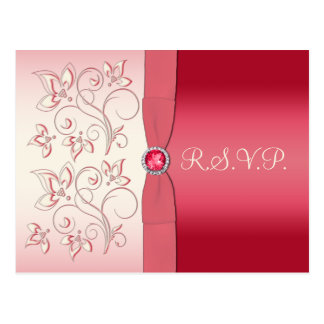 Watermelon Pink and Ivory R S V P Postcard