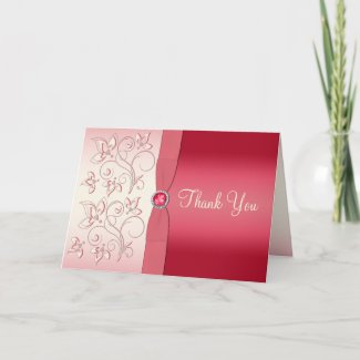 Watermelon Pink and Ivory Thank You Card card