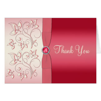 Watermelon Pink and Ivory Thank You Card Greeting Card