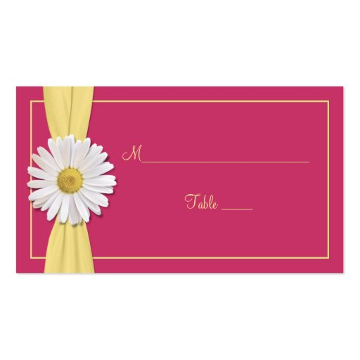 Watermelon Pink Daisy Wedding Place Cards Business Cards