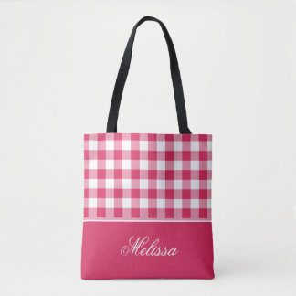 Watermelon Pink Gingham | Personalized Tote Bag