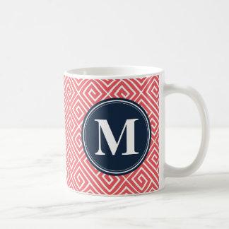 Watermelon Pink Greek Key Pattern Navy Monogram Coffee Mug