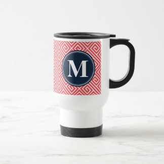 Watermelon Pink Greek Key Pattern Navy Monogram Travel Mug