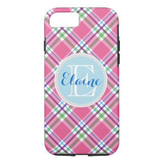 Watermelon Pink, Green, Aqua, Purple Name Plaid iPhone 8/7 Case