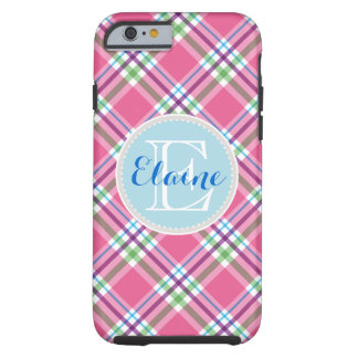 Watermelon Pink, Green, Aqua, Purple Name Plaid Tough iPhone 6 Case