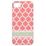 Watermelon Pink & Light Mint Lattice Custom Name iPhone 5 Covers