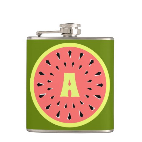 Watermelon Pink Monogram Flask