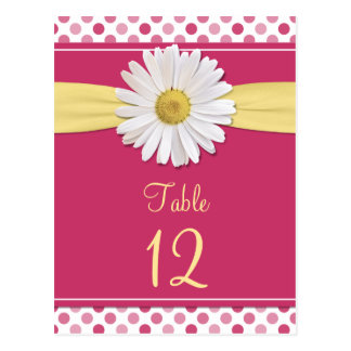 Watermelon Pink Polka Dot Daisy Table Cards Post Cards