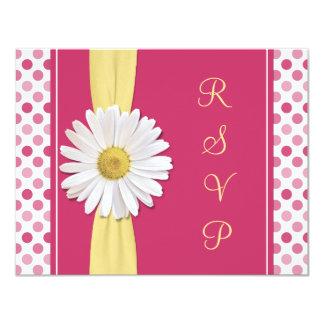 Watermelon Pink Polka Dot Wedding Reply Card