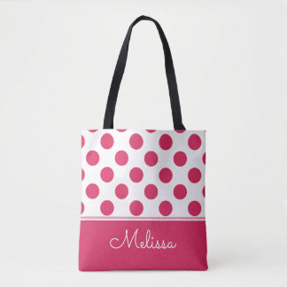 Watermelon Pink Polka Dots | Personalized Tote Bag