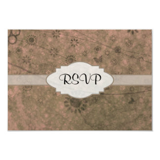 Watermelon Pink Retro Floral Abstract Nameplate 3.5x5 Paper Invitation Card