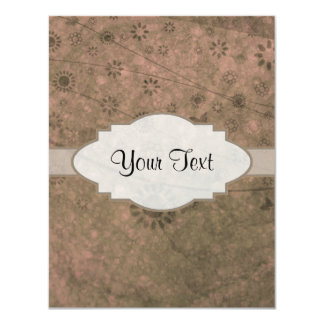 Watermelon Pink Retro Floral Abstract Nameplate 4.25x5.5 Paper Invitation Card
