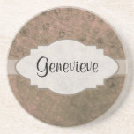 Watermelon Pink Retro Floral Abstract Nameplate Coaster