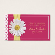 Watermelon Pink Shasta Daisy Wedding Favor Tag at Zazzle