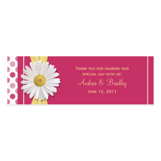 Watermelon Pink Shasta Daisy Wedding Favor Tag Double-Sided Mini Business Cards (Pack Of 20)
