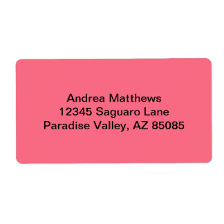 Watermelon Pink Solid Color Label