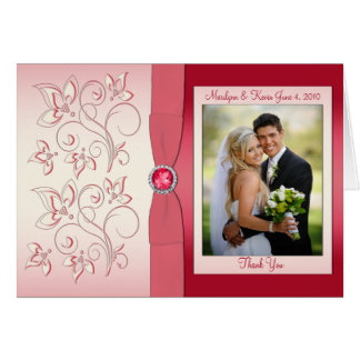 Watermelon PInk Thank You Card with Photo Greeting Cards