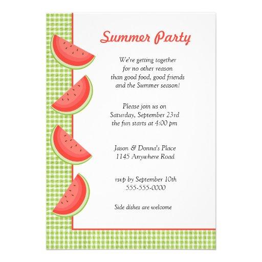 Watermelon Plaid Summer Party Invitation