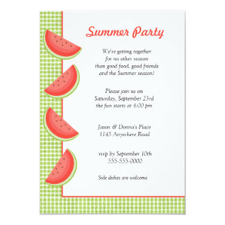 Watermelon Plaid Summer Party Invitation