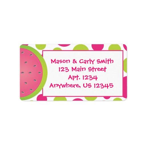Watermelon Polka Dot Address Labels