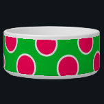 """Watermelon Polka Dots Bowl<br><div class=""""desc"""">Watermelon-pink polka dots are on a watermelon-green background and have a fun,  summer feel.</div>"""