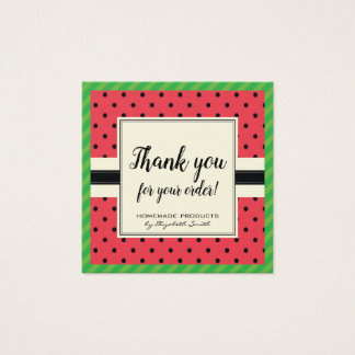 Watermelon polka summer fruit thank you for order square business card