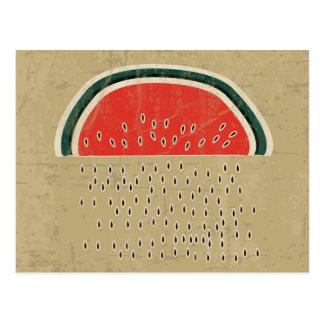 Watermelon Raining Seeds Postcard
