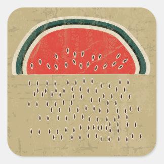 Watermelon Raining Seeds Square Sticker