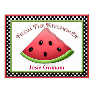 Watermelon Recipe Cards Post Card