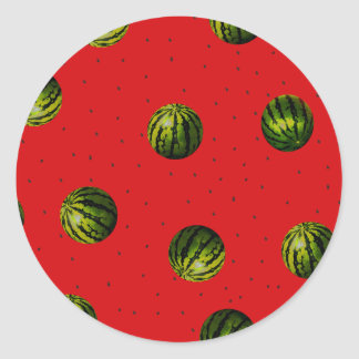 watermelon red and seeds classic round sticker