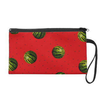 watermelon red and seeds wristlet purse