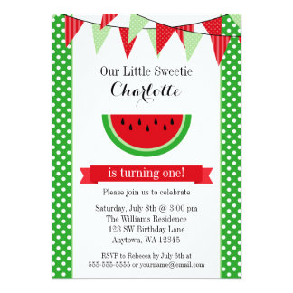 Watermelon Red Green Bunting Birthday Party Card